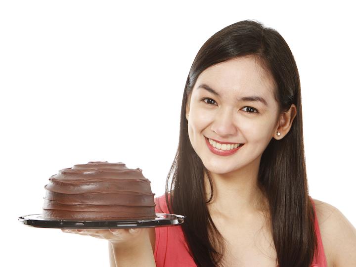 Girl With Chocolate Cake