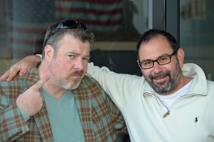 Micheal McCarthy and Howard Klein pose after not having shaved for over a week - and counting