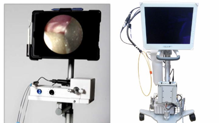Two dental endoscopes: the DeVA-1 from OraVu (left) and the Perioscopy from Zest Dental Solutions (right)